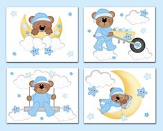 TEDDY BEAR PRINTS Wall Art for baby boy nursery room decor. Floating on the clouds, sleepy Teddy Bear enjoys being lulled to sleep by his friend the bright yellow moon along with the playful stars #decampstudios