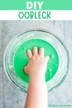 Whenever I need a quick activity to keep the kids entertained on a rainy day or when they are bored I grab cornstarch and water then mix up a batch of Oobleck. It's a great activity that's so easy to do, takes a few minutes to mix and I always have the supplies on hand. Interactive Activities, Creative Activities, Craft Activities For Kids, Summer Activities, Preschool Activities, Preschool Age, Outside Activities, Sensory Activities, Sensory Play