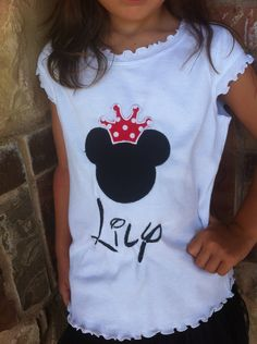 LOVE disney font! (not a fan of names on shirts...)    Disney Shirt with Minnie or Mickey Mouse Boy or Girl Applique Great for Vacation. $26.00, via Etsy.