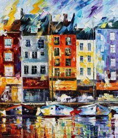 HONFLEUR - NORMANDIE - Palette knife Oil Painting  on Canvas by Leonid Afremov - http://afremov.com/HONFLEUR-NORMANDIE-Palette-knife-Oil-Painting-on-Canvas-by-Leonid-Afremov-Size-24-x30.html?bid=1&partner=20921&utm_medium=/vpin&utm_campaign=v-ADD-YOUR&utm_source=s-vpin