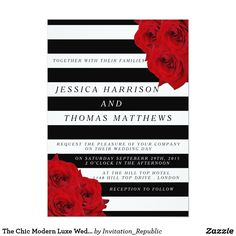The Chic Modern Luxe Wedding Collection- Red Roses Card The chic modern luxe wedding collection features a classic black and white stripe background accentuated with beautiful ruby red roses. These invitations are easy to personalize and will make the perfect announcement for any wedding, bridal shower, birthday party, engagement celebration or any other special occasion.