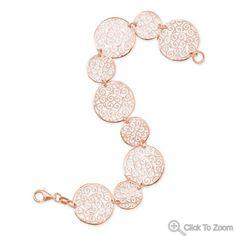 14 Karat Rose Gold Plated Bracelet with Filigree Disc Design