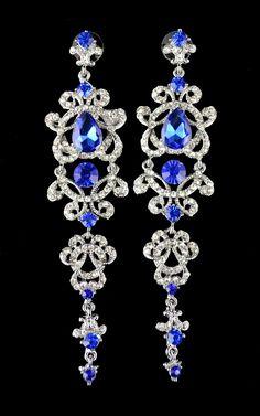 LUXURY RHINESTONE CRYSTAL FLOWER CHANDELIER EARRINGS Silver Drop Earrings fa542a92f0c6