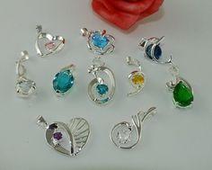 Wholesale lot 10pcs Sterling silver mixed CZ necklace pendant QT23