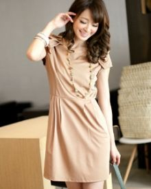 Material: Cotton, moderate thickness, Slightly stretchable, inner layer, real zipper    Size (flat, cm): Total length 80 (top 33, bottom 47), shoulder 36, bust 43-52, waist 36, sleeve length 9.5, cuff 10, hem 47, hip 48    Brand: Mayuki / Taiwan  Color: Apricot / Pink