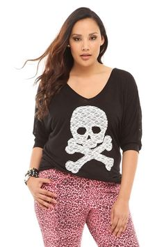 Twist Tees - Black Lace Skull Dolman Top