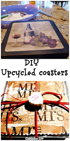 diy upcycled coasters with wrapping paper for a bridal shower.