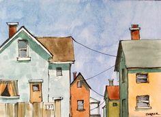 Watercolor Sketch, Watercolor Illustration, Watercolor Paintings, Watercolor Trees, Watercolor Portraits, Watercolor Landscape, Abstract Paintings, Peter Sheeler, Building Painting