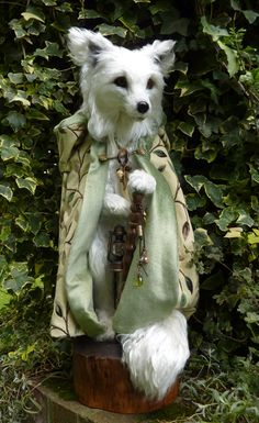 Needle felted White Fox   By Paula Drage of The Artful Fox