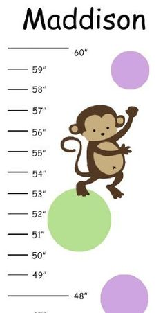 Personalized Celery Green & Lilac Monkey Canvas Growth Chart by Growth Charts Galore. $26.00. This adorable growth chart is printed with a large format printer on to canvas. It Includes grosgrain ribbon to make hanging a breeze. Growth chart measures 8 inches wide x 45 inches long. It can be personalized with one name in black, please provide name during check out.