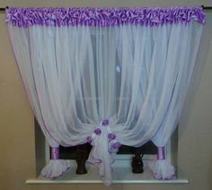 New Net Curtain / White Voile with satin / #128