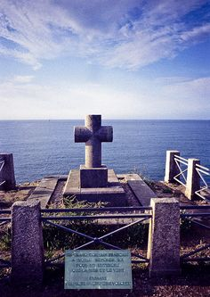 The perfect resting place.  The inscription reads:  A great French writer (Chateaubriant) wanted to rest here to hear only the sea and the wind. Please respect his last wish.