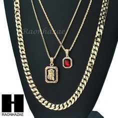 "MEN ICED OUT RUBY JESUS DIAMOND CUT 30"" CUBAN LINK BOX ROPE CHAIN NECKLACE SC049"