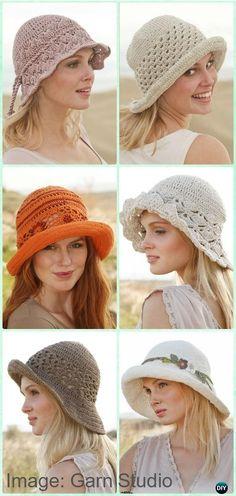 Crochet Drops Women Sun Hat Free Pattern -  #Crochet; Adult Sun #Hat Free Patterns
