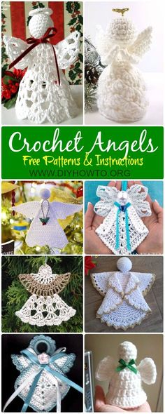 Collection of Crochet Angel Free Patterns & Tutorials: Crochet Granny Square Angel, Circle Angel, Angel Applique, Angel Christmas Ornament, Angel Tree Topper via @diyhowto