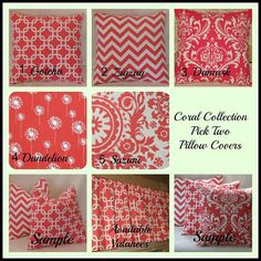 Coral Collection 16 x 16 Pick Two Fabric Both Sides. $27.00, via Etsy.