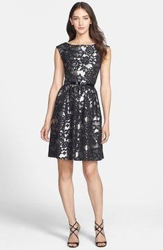 Eliza J Metallic Jacquard Fit & Flare Dress Size 12 Floral Silver Black #ElizaJ #PartyCocktail