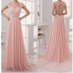 Backless Long Pink Straps A Line Prom Dress Cwb0157 ($142) ❤ liked on Polyvore featuring dresses, vestidos, long dresses, henley dress, a line dress, a line prom dresses and long prom dresses