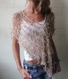 Poncho / Nude Ribbon loose knit Poncho by ileaiye on Etsy