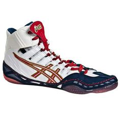 Asics Omniflex-Pursuit Wrestling Shoes - Navy Red and White. Perfect for Freestyle and Greco Roman singlets.The last wrestling shoe you'll ever need. In stock at wrestlinggear.com