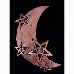 Moon and Stars Metal Wall Art, Copper Finish, Celestial Sculpture, 36 Inch