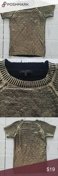 Romeo and Juliet Couture gold paint sweater M Excellent like new condition black cotton acrylic knit sweater painted with gold foil on the outside. Really cool looking item. Romeo & Juliet Couture Sweaters Crew & Scoop Necks