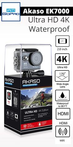 AKASO EK7000 4K Action Camera WIFI Ultra HD Waterproof Sports DV Camcorder 12MP 170 Degree Wide Angle 2 inch LCD Screen/2.4G Remote/2 Rechargeable Batteries/19 Mounting Kits-Black (2017 Version). #BestCheapActionCamera #Asako #GoPro #4KActionCamera iamgopro.com