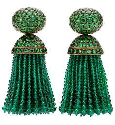 Hemmerle emerald and tsavorite tassel earrings