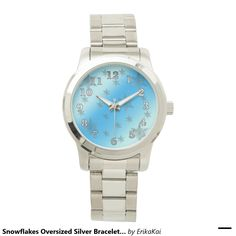 Ice Blue and Frozen Snowflakes Oversized Bracelet Watch. Color: black, gold, silver or two-ton