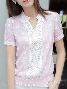 Ericdress Printed Stand Collar Floral Blouse Blouses Cute Blouses, Blouses For Women, Blouse Styles, Blouse Designs, Pakistani Fashion Casual, Blouse And Skirt, Indian Designer Wear, Lolita Dress, Floral Blouse