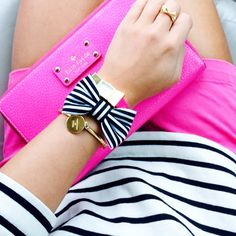 Pink + Black & White Stripes.