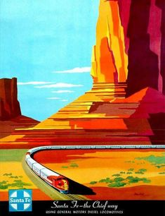 Vintage Retro Style Santa Fe The Chief Way New Mexico United States Travel Advertisement Art Poster Train Posters, Railway Posters, Art Deco Posters, Cool Posters, Movie Posters, Vintage Advertisements, Vintage Ads, Vintage Trains, Poster Ads