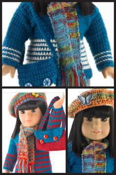 "Cute American Girl 18"" Doll sweater, hat, scarf and purse crochet and knitting free patterns."