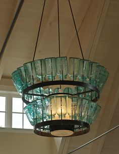 House of Turquoise: The Cushman Design Group. Beautiful turquoise chandelier made with mason jars. Mason Jar Light Fixture, Mason Jar Chandelier, Diy Chandelier, Mason Jar Lighting, Chandeliers, Light Fixtures, Turquoise Chandelier, Bottle Chandelier, Jar Lamp