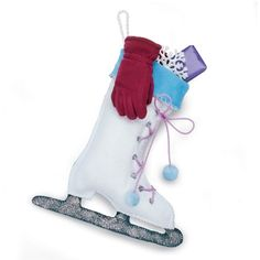 Click through for 12 DIY stockings for the holidays (How cool is this ice skate? Welcome To Christmas, Noel Christmas, Handmade Christmas, Christmas Crafts, Christmas Ideas, Holiday Ideas, Christmas Decorations, Primitive Christmas, Christmas Ornaments