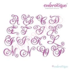 Charming Calligraphy Script- Capitals Only, Small - 4 Sizes! | Mini Designs | Machine Embroidery Designs | SWAKembroidery.com Embroitique