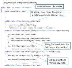 DbContext Class in Entity Framework Core, dbcontext in .net core c Entity Framework Core DbContext Class Example, How to use DbContext Class in Entity Framework Core Example, dbcontext example c ef dbcontext connection string