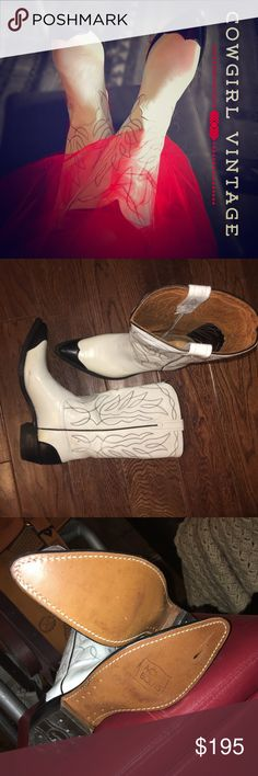 TRUE Vintage ACME cowgirl boots 🤠 Boho cowgirl🐴🐴🐴🐴 White/black tall cowboy boots, hits below knee. Great for a wedding or or out dancing. I always wish these old boots could tell a story of their lives. Haha. I wear an 8 1/2 and they're a little bit narrow for me I have a few scuffs but their vintage true true true vintage. The souls show that there is been no wear to these boots just probably scuffed from being around all these years. @Least they have never been worn outside. Shoes…