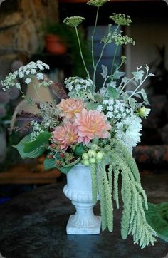 #Wedding #Floral #Flowers #Arrangement #Centerpiece #Dahlia #Love #Amaranthus #Peach #White #Green #Berries