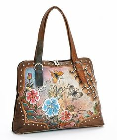 Look what I found on #zulily! Brown & Blue Floral Hand-Painted Leather Shoulder Bag by Biacci #zulilyfinds
