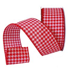 "Houndstooth Red and White 2.5"" Wire Edge Ribbon"