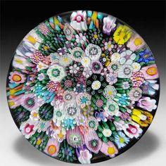 Drew Ebelhare 2013 close packed millefiori glass paperweight. by Drew Ebelhare & Sue Fox