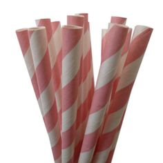 Pink Paper Straws--50 PINK STRIPE Paper Straws Retro Vintage: Pink Weddings, Birthday Party, Bachelorette Party, Baby & Bridal Shower. via Etsy. $7.90