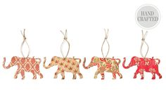 One Kings Lane - Best of Holiday Ornaments - S/4 Silhouette Elephant Ornaments