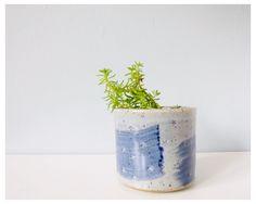 Brushstroke planter succulent pot - ceramic mini pot gray with blue stars - handmade vessel