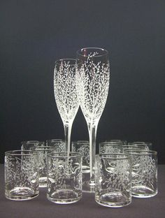 Champagne Flutes And Candle Holder Set . Hand Engraved Glass 'Branches And Leaves' Spring Wedding Decor