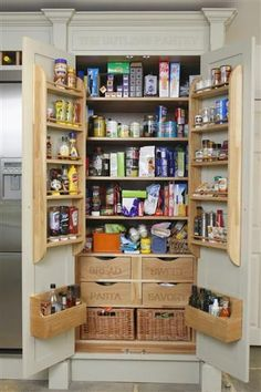 48 Kitchen Pantry Ideas with Form and Function - GODIYGO.COM Kitchen pantry ideas with form and function 12 Kitchen Larder Cupboard, Kitchen Pantry Design, Kitchen Organization Pantry, Cupboard Storage, New Kitchen, Kitchen Storage, Pantry Ideas, Kitchen Pantries, Storage Baskets