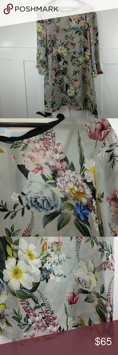 """Twin set Simona Barbieri  dress S made in Italy Gorgeous sheer romantic floral dress.  31"""" top to bottom center.  35"""" top to bottom on either side.  17"""" arm pit to arm pit; 13"""" arm pit to end of sleeve; 20"""" shoulder seam to end of sleeve; 3.5"""" neckline to shoulder seam.  No care tag.  Has a slight perfume scent from my drawer liner. Twin-Set Dresses Midi"""