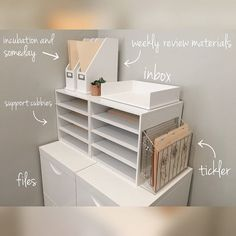 This little guideline from for creating a functional command center for paper work. is simple and awesome. There is a home… Home Office Space, Home Office Design, Home Office Decor, Office Organization At Work, Paper Organization, Office Ideas, Cubicle Organization, Bathroom Organization, Work Cubicle