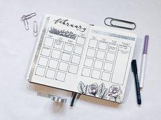 bullet journal floral monthly calendar